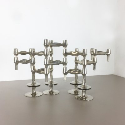 Set of 14 Vintage BMF Nagel Candleholder Elements by Caesar Stoffi, 1970s