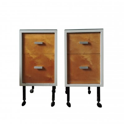 Pair of Vintage Two Drawer Bedside Cabinets on Wheels, 1970s
