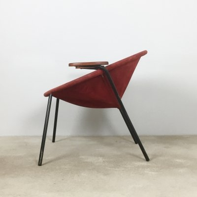 Vintage 1950s Red Leather Balloon Easy Chair by Hans Olsen for LEA, Denmark