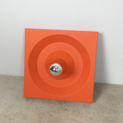Orange Pop Art Metal Wall Light by Klaus Hempel for Kaiser Leuchten, 1970s