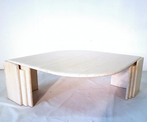 Teardrop shaped tavertine coffee table, 1970s