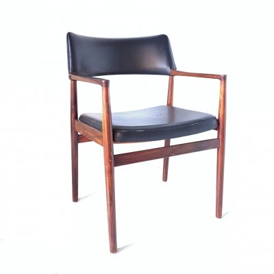 Rosewood & leatherette armchair by Erik Wørts for Søro Denmark, 1960s