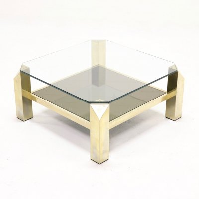 23k Gold Plated Coffee Table by Belgo Chrome, 1970s