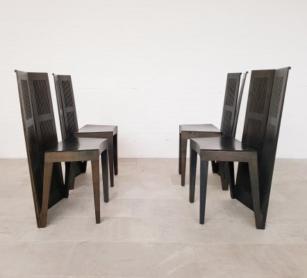 Set of 4 Lubekka chairs by Andrea Branzi for Cassina, 1970s