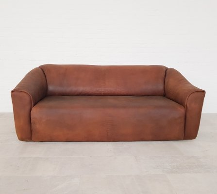 De Sede DS47 sofa in dark cognac leather, 1970s