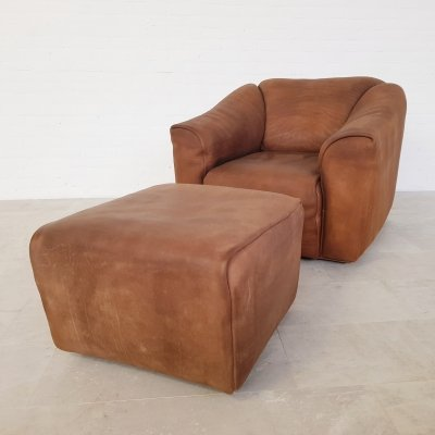 De Sede DS47 loungechair with ottoman, 1970s