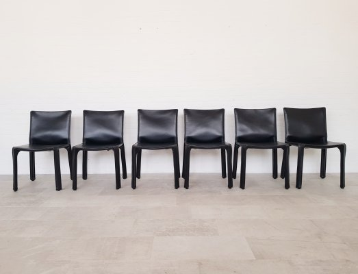 Set of 6 black leather Cassina CAB chairs by Mario Bellini, 1980s