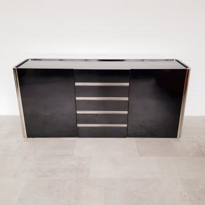 Black wooden sideboard by Willy Rizzo for Mario Sabot, 1970s