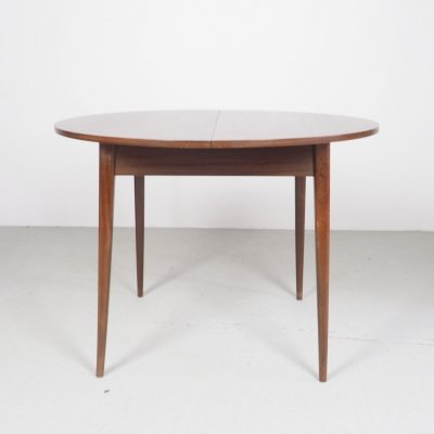 Round teak dining table with extension sheet, 1960's