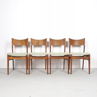 Danish design teak dining chairs by L. H. Qvesehl, 1960's