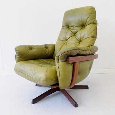 Green armchair with woodframe by Göte Möbler, 1970s