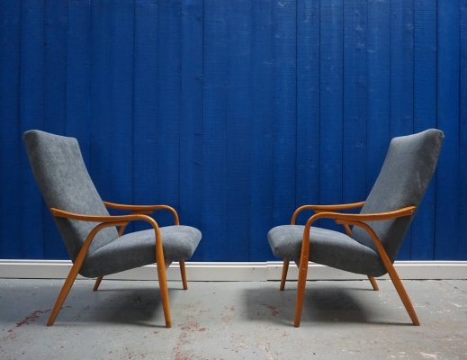 Pair of Model 947 Chairs by Antonin Šuman for TON, 1950's