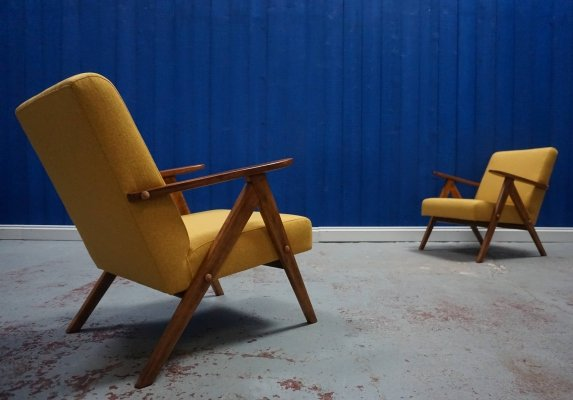 Pair of Mid-Century Modern Easy Chairs in Yellow Tweed, 1960's