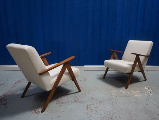 Pair of Mid Century Modern Armchairs in White Cream, 1960s