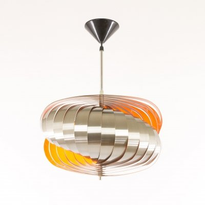 Aluminium pendant by Henri Mathieu in orange, 1970s