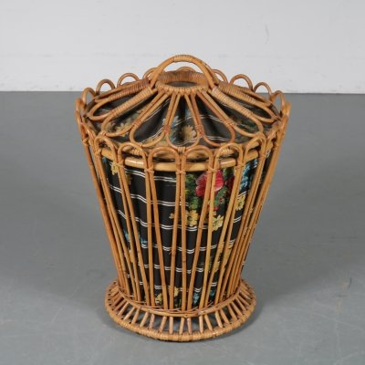 Rattan washing basket, Italy 1950s