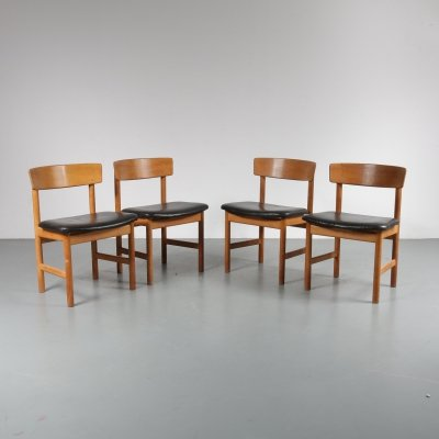 Set of 4 Oak dining chairs by Borge Mogensen for Fredericia-Denmark, 1950s