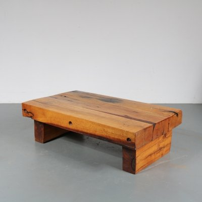 Solid oak coffee table, The Netherlands 1970s