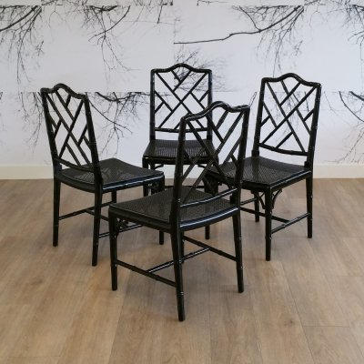 Set of 4 Black Faux Bamboo Chippendale Chairs, 1970s