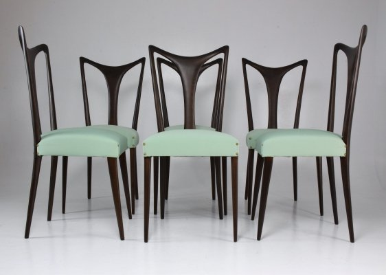 Set of 6 Italian Vintage Dining Chairs by Guglielmo Ulrich, 1940's