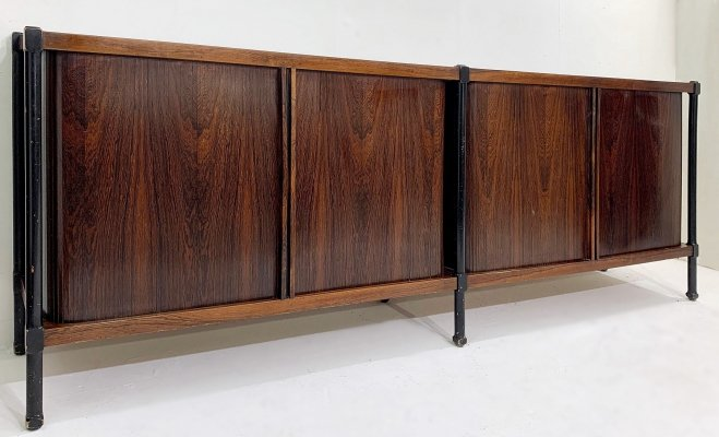 Rosewood Sideboard With 4 Sliding Doors, 1960s