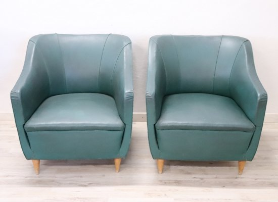 Italian Design Green Leather Pair of Armchairs, 1960s