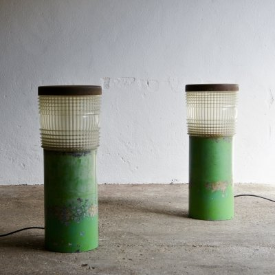 Salvaged French Metal And Glass Street Lamps