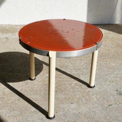 1940's Circular Metal And Glass Side Table