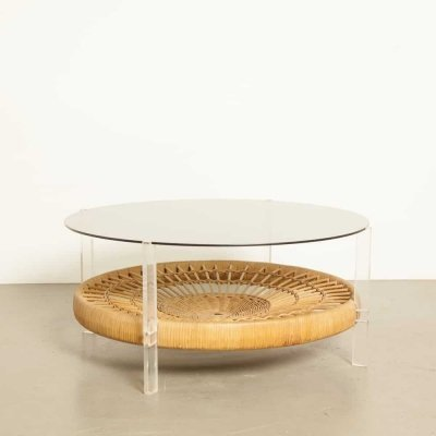 Coffee table with rattan, wicker & perspex