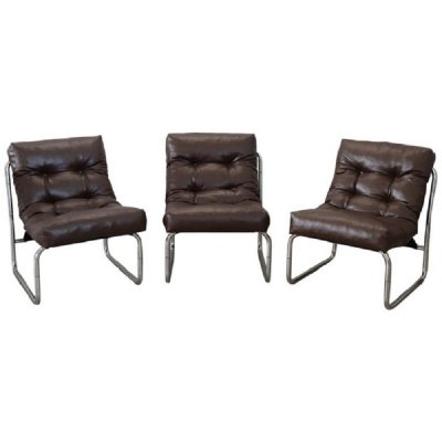 Set of 3 Italian Design Brown Leather lounge chairs, 1980s