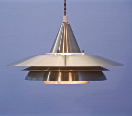 Danish hanging lamp in aluminium with a touch of brass, 1960s