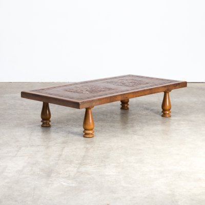 60s Angel Pazmino leather coffee table for Muebles de Estilo