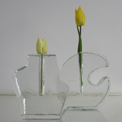 Pair of Crystal Block Vases by Klaus Breit for Wiesenthalhutte, 1970's