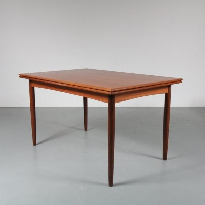 Teak extendible dining table by N&R Mobler, Denmark 1950s