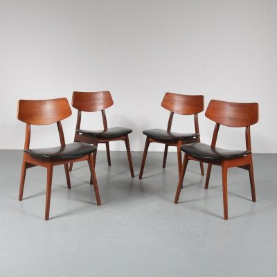 Set of 4 dining chairs by Louis van Teeffelen by WéBé, the Netherlands 1950s