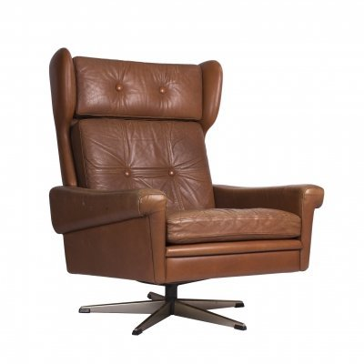 Svend Skipper leather wingback lounge chair