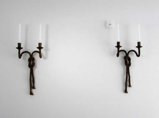 Luxurious Bronze Candle Wall Sconces, 1950's