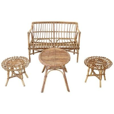 Vintage Bamboo & Rattan Living Room Set, 1960s