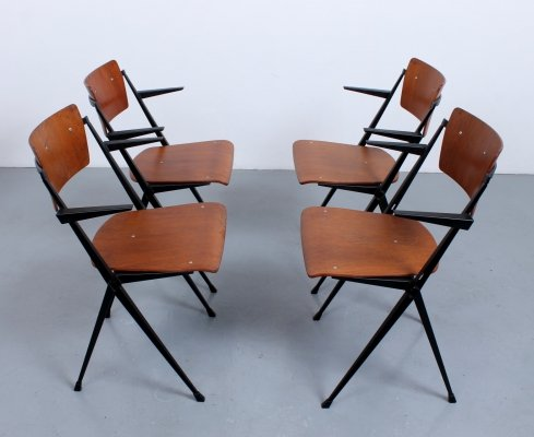 Set of 4 Pyramid / Compass dining chairs by Wim Rietveld for Ahrend de Cirkel, 1960s