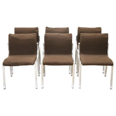 Set of 6 Chromed Metal & Brown Fabric Chairs, 1970s
