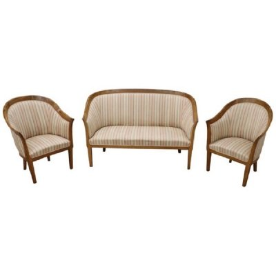 Art Deco Walnut Lounge Set, 1930s