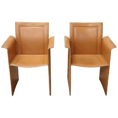 Vintage Leather 'Korium KM1' Armchairs by Tito Agnoli for Matteo Grassi, 1970s