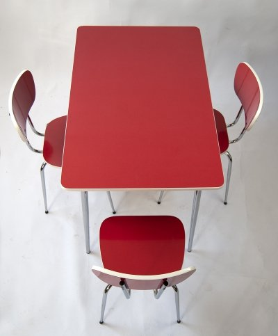 1960s Resopal Kitchen Table & 3 Chairs in Red