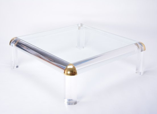 Large Vintage Lucite & Brass Square Coffee Table