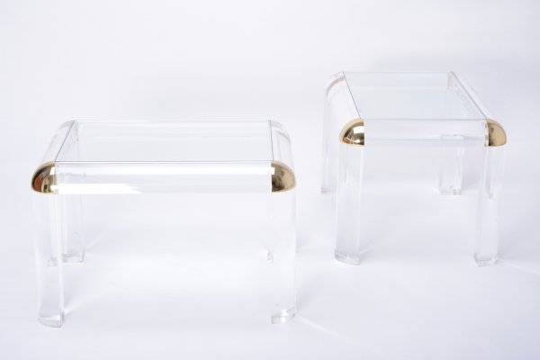 Pair of Vintage Lucite & Brass Coffee Tables