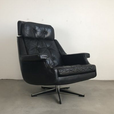 Mid Century Modern Leather Lounge Chair by Topform, Netherlands 1960s