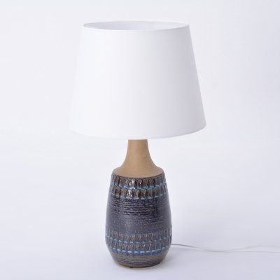 Large Vintage Blue Danish Ceramic Lamp with Geometrical Pattern by Soholm Stentoj