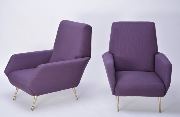 Pair of Purple Italian Lounge Chairs, 1950s
