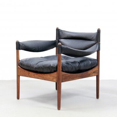 Rosewood Kristian Vedel black leather Modus lounge chair