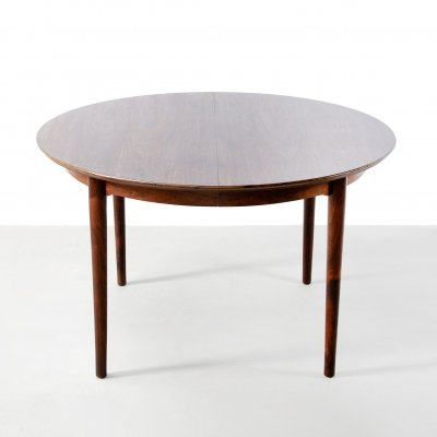 Round rosewood Arne Vodder & Helge Sibast table model 204, 1950s